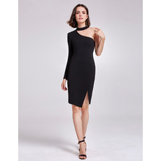 Sexy Sheath One Shoulder Short Satin Black Cocktail/ Holiday Dresses