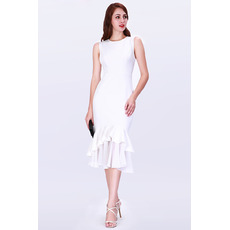 Discount Mermaid Tea Length Satin Cocktail/ Holiday/ Party Dresses