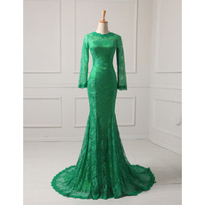 Affordable Mermaid Floor Length Lace Evening Dresses with Long Sleeves