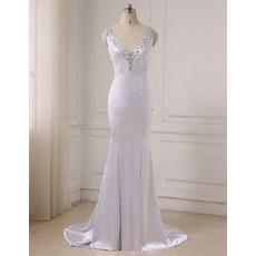 2019 New Style Mermaid V-Neck Floor Length Satin Evening Dresses