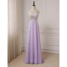 Elegant One Shoulder Floor Length Chiffon Evening/ Prom Dresses