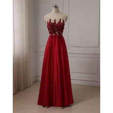 2019 Style A-Line Floor Length Satin Embroidery Evening/ Prom Dresses