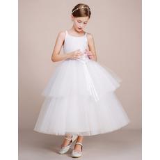 Affordable Ball Gown Sleeveless Tea Length Flower Girl Dresses