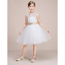 Adorable Knee Length Lace Tulle Flower Girl Dresses with Sashes