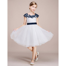 Custom Knee Length Flower Girl Dress with Embroidery and Sash
