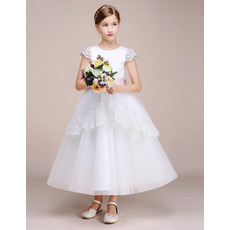 Discount Tea Length Cap Sleeves Flower Girl Dresses with Belts