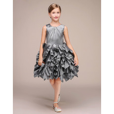 Custom Sleeveless Short Taffeta Ruffle Skirt Flower Girl Dresses