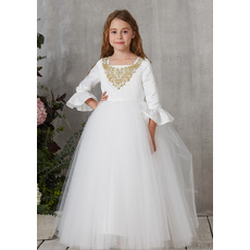 Stunning Floor Length First Communion Dresses with Long Sleeves
