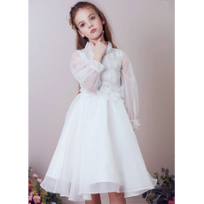 2019 Style Knee Length Organza Flower Girl Dresses with Long Sleeves