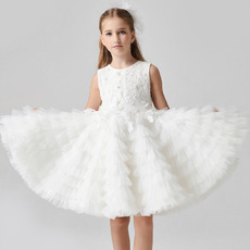 Custom Knee Length Lace Organza Pleated Skirt Flower Girl Dresses