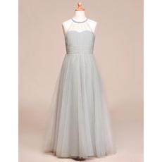 Affordable A-Line Floor Length Satin Tulle Flower Girl Dresses