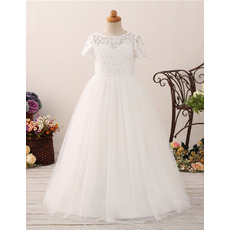 2019 Lace Flower Girl/ First Communion Dresses with Short Sleeves