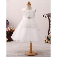 Stunning A-Line Sleeveless Knee Length Organza Flower Girl Dresses