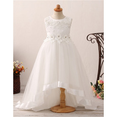 Inexpensive Sweep Train High-Low Flower Girl Dresses for Wedding