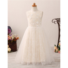 Adorable A-Line Floor Length Lace Flower Girl Dresses for Wedding