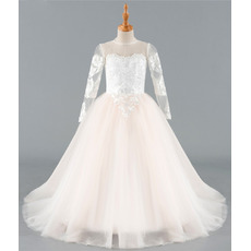 Stunning Ball Gown Floor Length Flower Girl Dresses with Long Sleeves