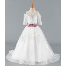 Custom Off-the-shoulder Sweep Train Flower Girl Dress with Belt