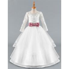 Discount Ball Gown Long Flower Girl/ Communion Dress with Belt