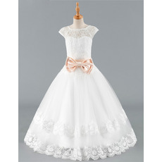 Stunning Ball Gown Floor Length Lace Flower Girl Dresses with Belts