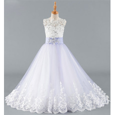 2019 New A-Line Floor Length Organza Flower Girl Dress with Bow