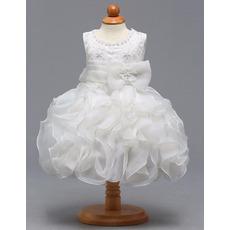 Custom Knee Length Ruffle Skirt Flower Girl Dresses for Wedding