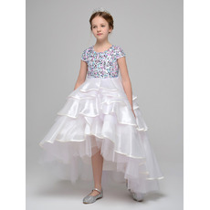 2019 New Style High-Low Asymmetric Beading Little Girls Party Dresses