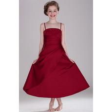 Custom Spaghetti Straps Tea Length Flower Girl/ Junior Bridesmaid Dress