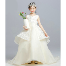 Custom Ball Gown Floor Length Lace Organza Little Girls Party Dresses