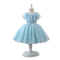 Lovely Ball Gown Knee Length Lace Little Girls Easter Dresses