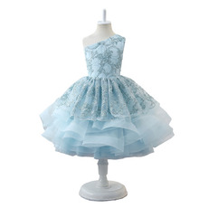 2019 New One Shoulder Knee Length Little Girls Party Dresses
