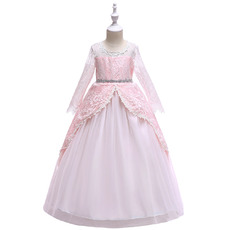 Inexpensive Ball Gown Long Sleeves Long Little Girls Party Dresses