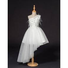Affordable One Shoulder Asymmetric Little Girls Party Dresses