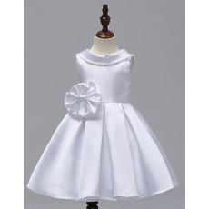 Discount Lapel Mini/ Short Satin Flower Girl Dresses for Wedding