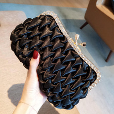 Silk Pleated Black Evening Handbags/ Purses/ Clutches