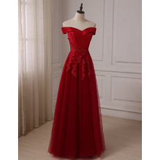 Custom A-Line Off-the-shoulder Long Prom/ Party/ Formal Dresses