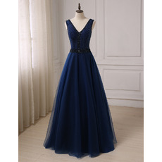 Affordable A-Line V-Neck Floor Length Prom/ Party/ Formal Dresses