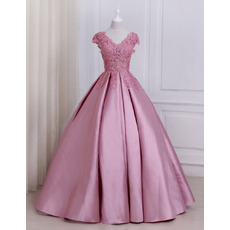 Elegant Ball Gown V-Neck Floor Length Prom/ Quinceanera Dresses