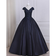 Custom Ball Gown V-Neck Floor Length Prom/ Quinceanera Dresses