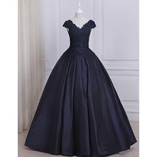 Custom Ball Gown V-Neck Floor Length Prom/ Quinceanera Dresses