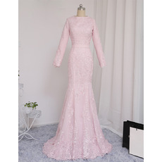 2019 Mermaid Floor Length Prom/ Formal Dresses with Long Sleeves