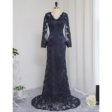 Sexy Sheath V-Neck Floor Length Lace Prom Dresses with Long Sleeves