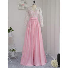 Discount V-Neck Floor Length Prom/ Formal Dresses with Long Sleeves