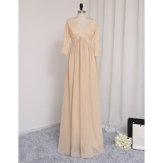 Inexpensive V-Neck Long Chiffon Prom Dresses with 3/4 Long Sleeves
