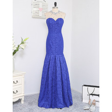 2019 Style Mermaid Sweetheart Floor Length Lace Prom/ Formal Dresses