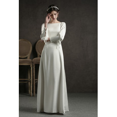 Elegant Satin Floor Length Reception Wedding Dress with Long Sleeves
