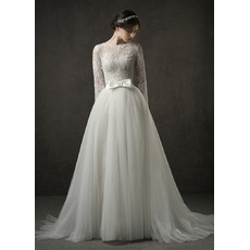 Custom Long Sleeves Long Lace Wedding Dress with Detachable Skirt