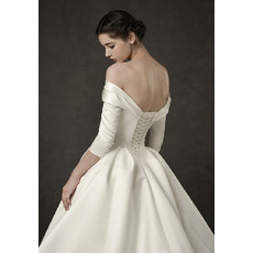 Vintage Off-the-shoulder Satin Wedding Dresses with 3/4 Long Sleeves