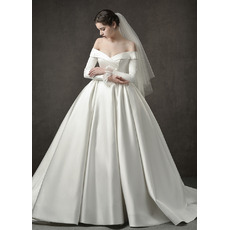Custom Off-the-shoulder Long Satin Wedding Dresses with Long Sleeves