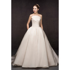 Affordable A-Line Strapless Floor Length Satin Wedding Dresses
