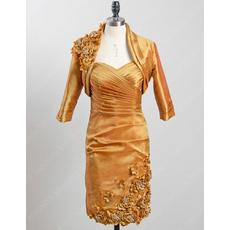 Elegant Column Short Taffeta Mother Dresses with Jackets for Wedding
